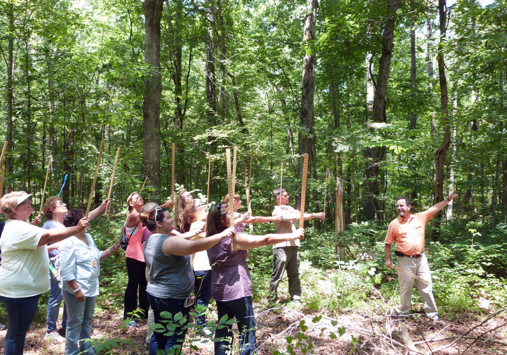 Teachers learning to use a biltmore stick